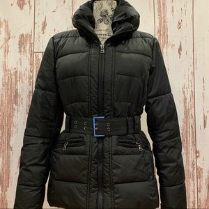 NY & CO BLACK PUFFER JACKET BELTED WITH COLLAR